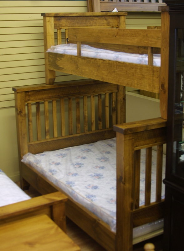 single over double pine bunk beds, Lloyd's Mennonite Furniture, Bradford,  and Schomberg Ontario